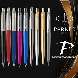 Parker Jotter Ballpoint Pen Blue & Black Ink in Black Blue Red Gold & Silver