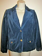 Old Navy Womans Blazer Blue Velvety Cotton Jacket Size Small Fully Lined