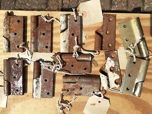 "Vintage Rising Gate Door Hinge Set 3"" old 1 set single hinge 2 parts rare"