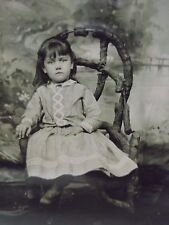 Antique Tintype Photo-Pretty Girl,Long Hair,Gingham Fashion,Rustic Chair,Props