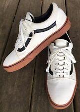 VANS Old Skool White Canvas Skate Shoes, Gum Soles, Men's 10