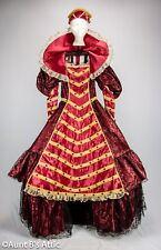 Queen Isabella 2 Pc Jeweled Red Satin With Blk Lace Overlay Medieval Dress & Hat