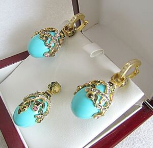 TURQUOISE PENDANT & EARRINGS HANDMADE RUSSIAN SOLID STERLING SILVER 925 24K GOLD