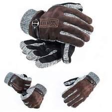 Winter Strick Wildlederhandschuhe Damen Herren  Winterhandschuhe Lederhandschuhe
