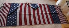 Vintage American Flag USA Blanket Hoodie Cape Wrap Scarf Woven NEW