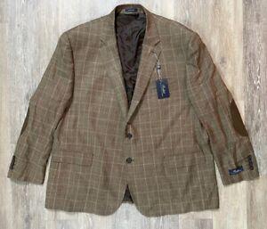 Polo Ralph Lauren Brown Sport Coat Blazer 54R Elbow Patch NWT NEW MSRP $295