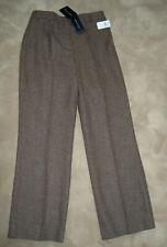 NWT RENA LANGE Brown Wool Tweed Straight Leg Slacks Pants  Trousers  8