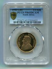 PCGS SECURE + SOUTH AFRICA 1990 1/2 KRUGERRAND PF 65 GOLD COIN-GRC MINTMARK RARE