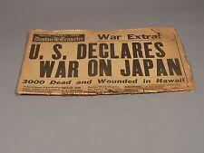 US Declares War on Japan The Boston Traveler Newspaper December 8, 1941