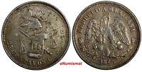 Mexico SECOND REPUBLIC Silver 1875 CN-P 25 Centavos Culiacan VERY RARE KM# 406.2