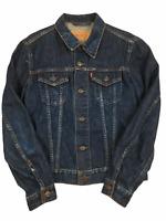 """Levis Medium Womens Blue Jacket Denim 70590 Trucker Distressed Vintage 32"""" Chest"""