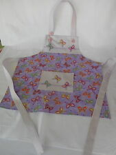 Handmade girls childs apron. 3-4 years. Butterfly print. Play kitchen accessory