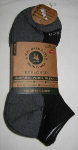 3 Pairs G.H. Bass Explorer Merino Wool Blend Quarter Socks Mens Size 10-13