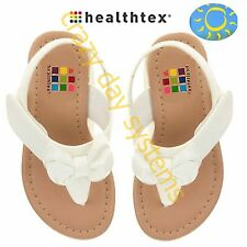 Healthtex Infant Bow Toe White Patent Leather Sandals Size 3 Baby Toddler Girl