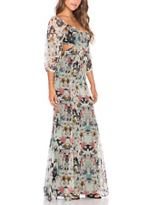 $375 ANTHROPOLOGIE CYNTHIA VINCENT NEW LEAF FLORAL SILK LINED MAXI DRESS Sz 0