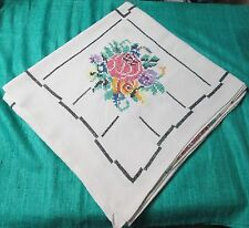 Antique Linen Tablecloth R K Monogram Colorful Hand Embroidered Florals