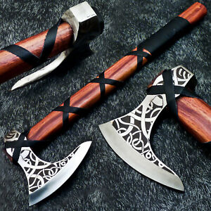 New Custom Hand Forged Carbon Steel Etching Blade UNIQUE VIKING TOMAHAWK AXE