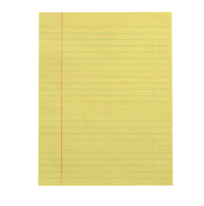 School Smart Newsprint Paper with Red Margin, 8 x 10-1/2 Inches, Yellow, 500