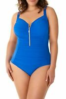 Miraclesuit Solid So Rich Zip Code One-Piece Swimsuit Delphine Blue Size 22W