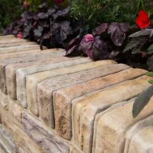 FAWN BEIGE SANDSTONE WALLING BLOCKS. ANTIQUED STONE BRICKS - 215 x 100 x 30-70mm