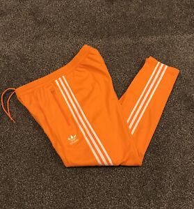Adidas Originals Beckenbauer Tracksuit Bottom Men Medium Orange And White Stripe
