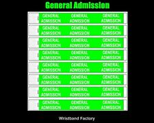 100 Tyvek Neon Green General Admission Party Function Concert Event Wristbands
