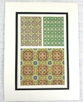 1857 Antique Print Minton Floor Tiles Victorian Gothic Revival Architecture Art
