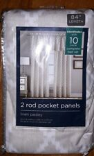 Linen Paisley Rod Pocket  Window Curtain Panels- Pair