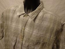 Nautica Gray Plaid Button Front SHIRT Sz M Linen Blend Short Sleeve
