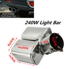 """2.5""""/63mm Inlet Stainless Steel 1 to Dual Straight Car Exhaust Pipe Muffler Bent"""