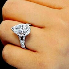 Certified 3Ct Pear White Diamond Halo Engagement Ring Solid 14K White Gold Over