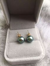 Genuine 9mm Real South Sea gray Pearl Earrings 14K Solid Yellow Gold
