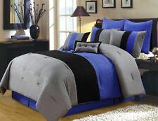 8-Piece Luxury Pintuck Pleated Stripe Gray, Blue, and Black Comforter Set