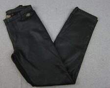 Woman's Harley Davidson Black Leather Front Spandex Back Pants 27x31