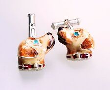 GOLDEN RETRIEVER CUFFLINKS, STERLING SILVER, ENAMEL by G.DANILOFF & CO.USA