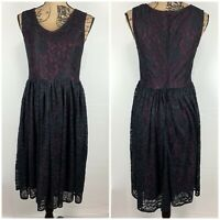 ModCloth Liza Luxe Floral Lace Overlay Dress NWT Size M Burgundy Wine Black