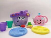 TOY Bundle LeapFrog Shapes + Sharing Picnic Basket Fisher Price Tea Pot Pink
