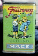 VINTAGE FAIRWAY BRAND SMALL 1 OUNCE GROUND MACE SPICE TIN WITH CHILDREN
