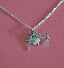 925 Sterling Silver Anchor Heart Cross Charm Necklace - Faith Hope Charity Chain