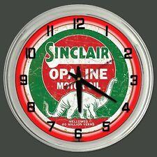 "16"" Sinclair Opaline Motor Oil Sign Red Neon Clock Man Cave Garage"