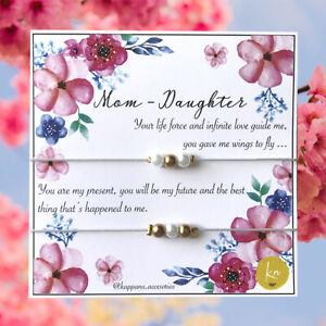 Mom Daughter Bracelet Adjustable Love Family Handmade Mothers Day Gift Matching