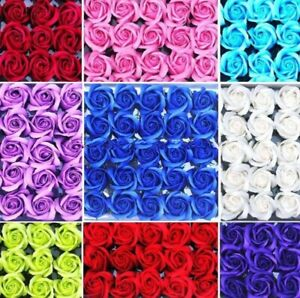50pcs Artificial Flowers Foam Rose Fake Flower With Stem Wedding Party Bouquet