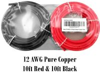 12 Gauge Ga 10 FT Red Black Pure Copper Automotive Trailer Hook Up Primary Wire