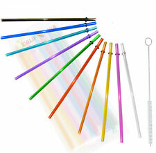 Rainbow Colored Replacement Acrylic Straw Set of 10 /With Cleaning Brush