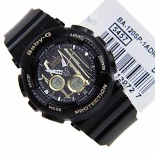 Casio Women's Baby -G Ana-Digital Scratch Pattern Blk/ Gold Watch BA120SP-1A