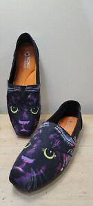 BOBS SIze 8M Cat Shoes Big Kitty Cat Eyes Black Multi Colors Limited Edition