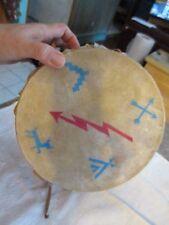 """Vintage bird design Handmade Leather Hidetoy  Drum  8.25"""" x 5"""" NAT"""