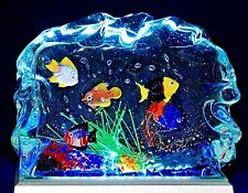 Colorful  MURANO Fish AQUARIUM Art Glass BLOCK Paperweight SCULPTURE Signed