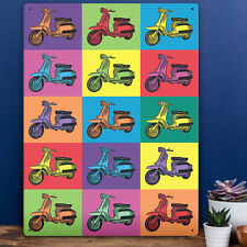 Pop Art Metal Wall Sign Lambretta Scooter Plaque Warhol Style Decor Tin 30x41cm