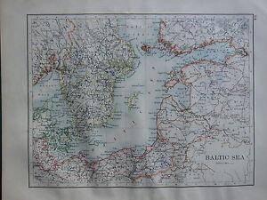 1900 VICTORIAN MAP ~ BALTIC SEA DENMARK SWEDEN GOTHLAND PRUSSIA